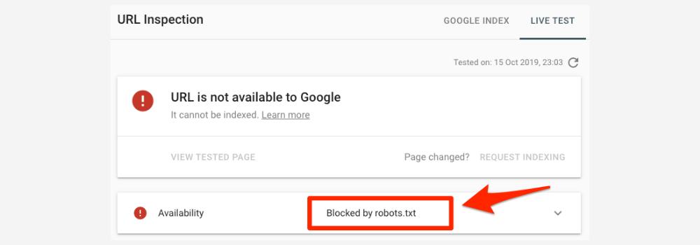URL Blocked by Robots.txt
